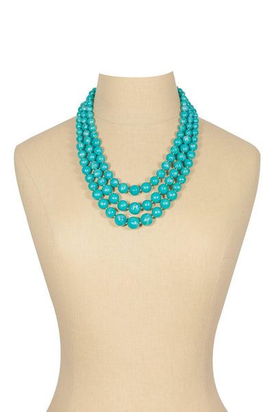 80's__Trifari__Teal Multi Beaded Necklace
