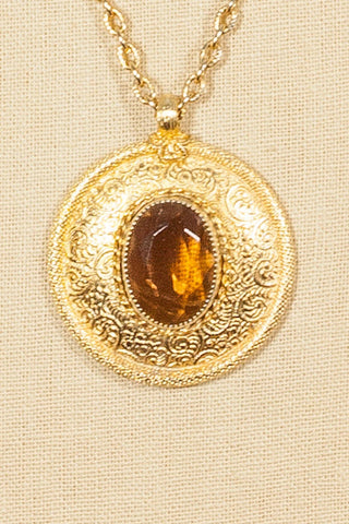 60's__Emmons__Amber Disc Pendant Necklace