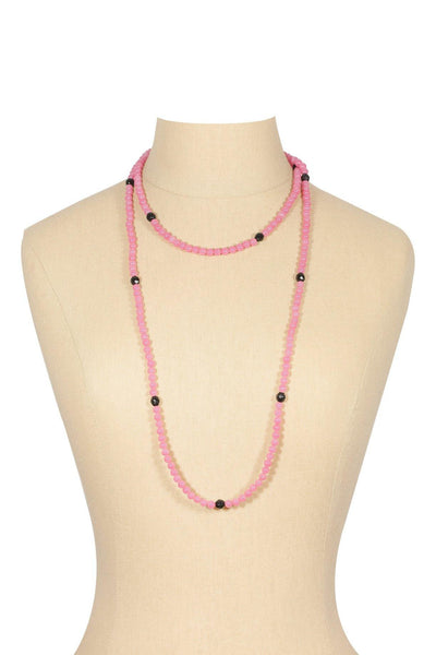 50's__Vintage__Pink and Black Beaded Necklace