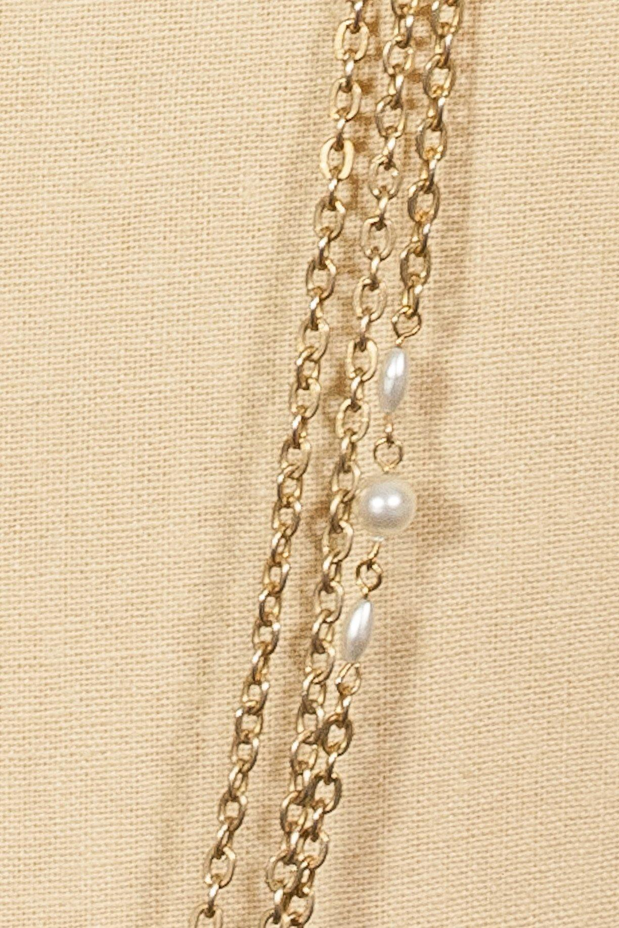 70's__Vintage__Multi Chain Pearl Charm Necklace