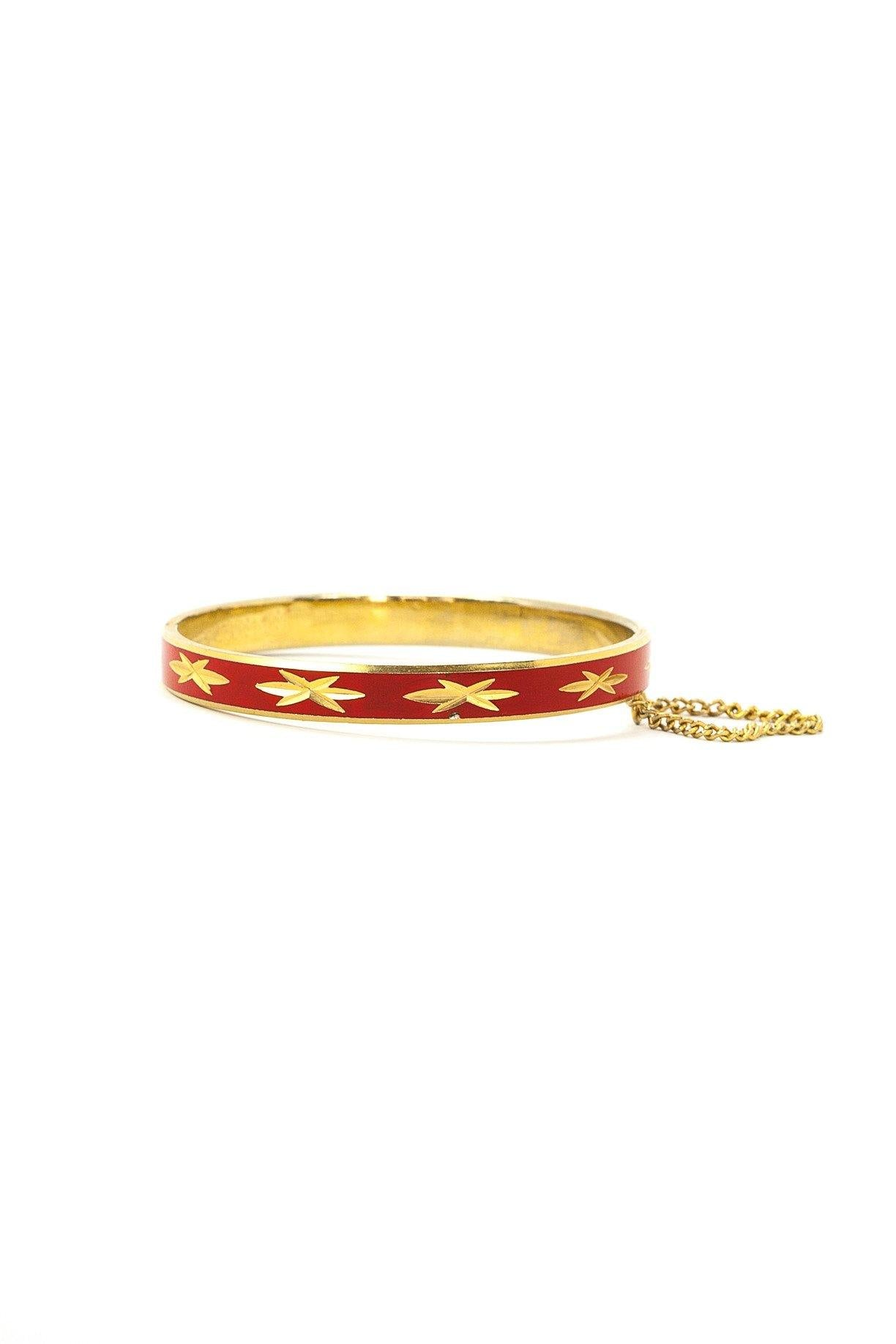 50's__Vintage__Red Enamel Star Bangle