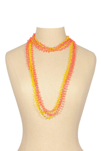 50's__Vintage__Pink and Yellow Beaded Necklace