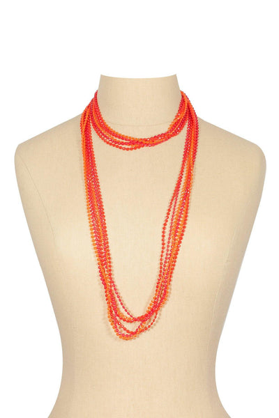 50's__Vintage__Red and Orange Beaded Necklace