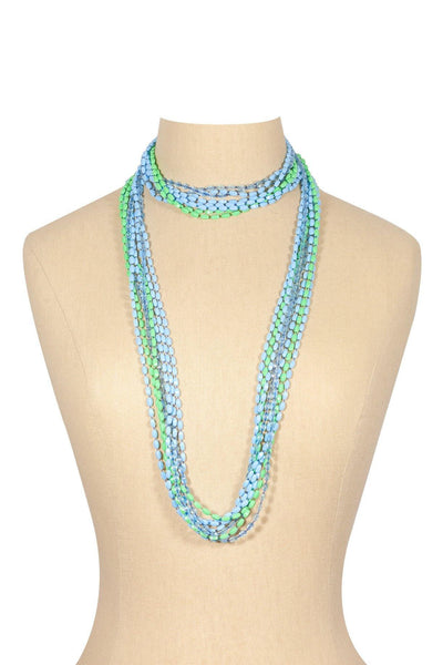 50's__Vintage__Blue and Green Beaded Necklace