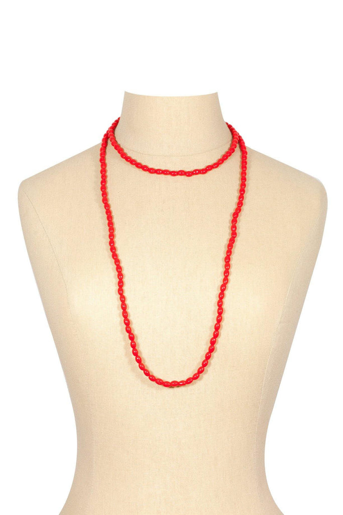 50's__Vintage__Red Beaded Necklace