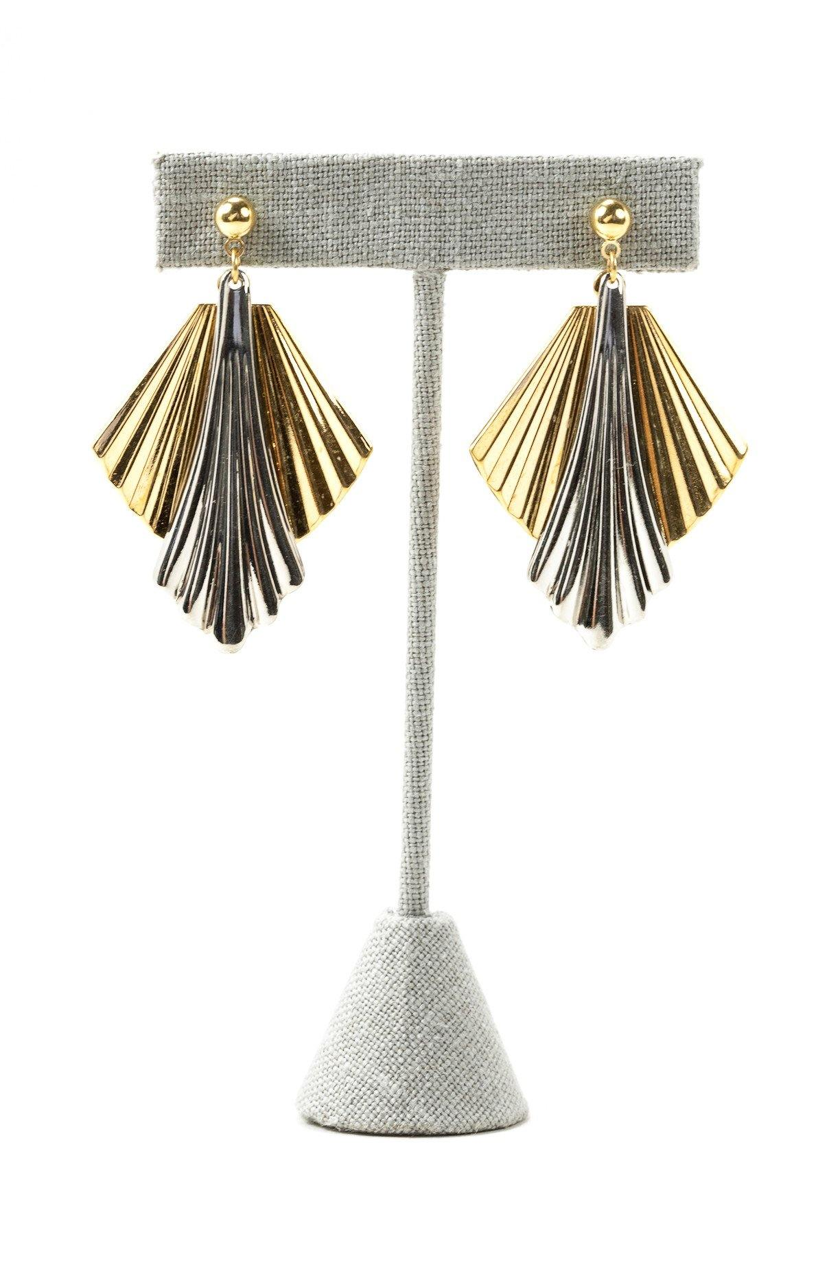 70's__Vintage__Gold and Silver Fan Drop Pierced Earrings