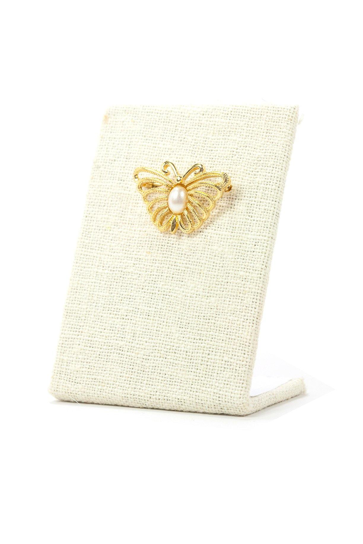 70's__Monet__Pearl Embellished Gold Butterfly Brooch