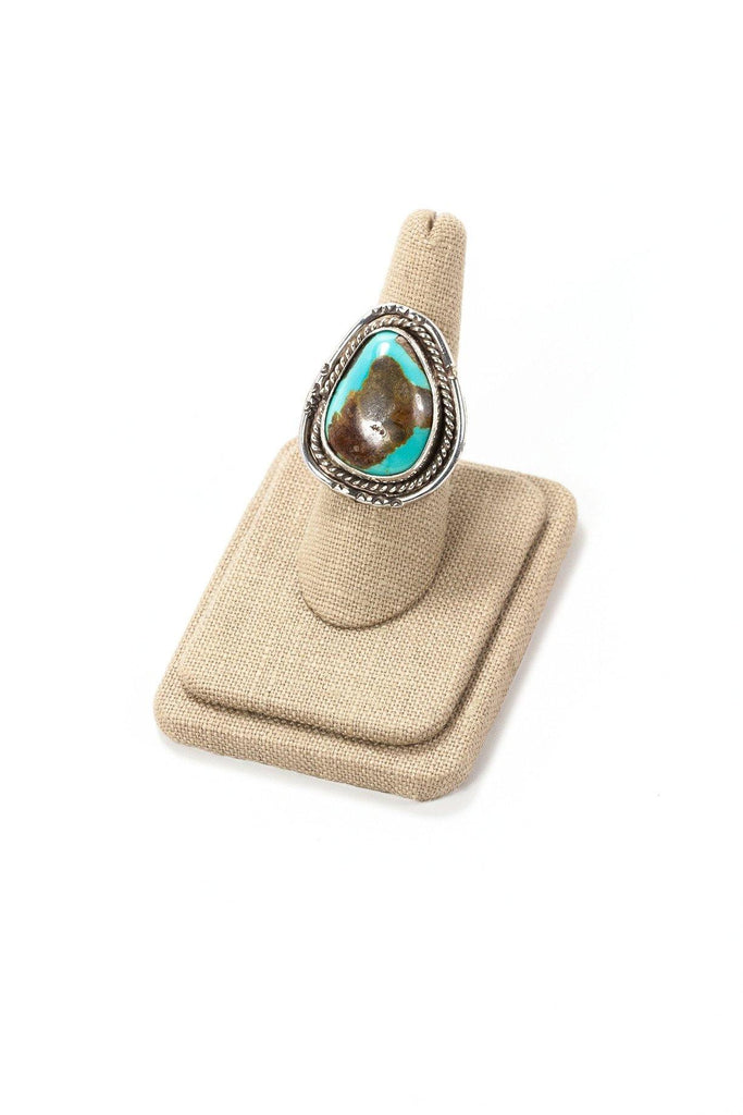 70's__Vintage__Turquoise Sterling Statement Ring sz 7