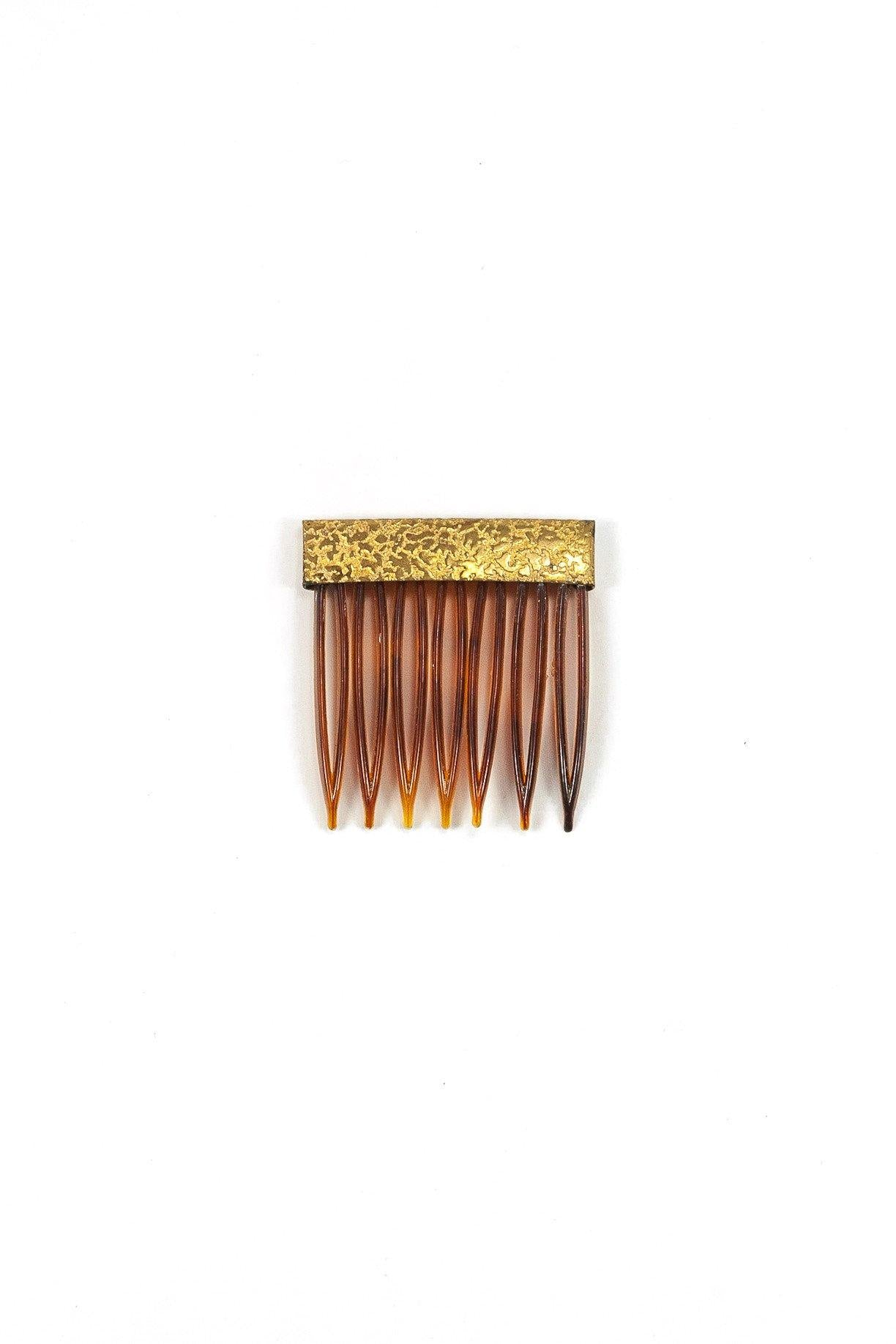 50's__Vintage__Textured Gold Hair Comb