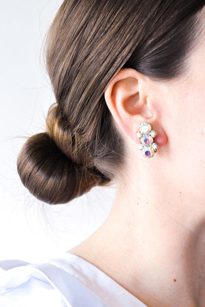 AB Rhinestone Clip-on Earrings