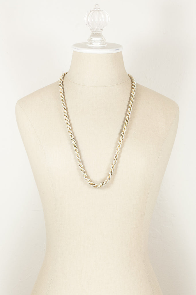 70's__Trifari__Gold & Pearl Rope Necklace