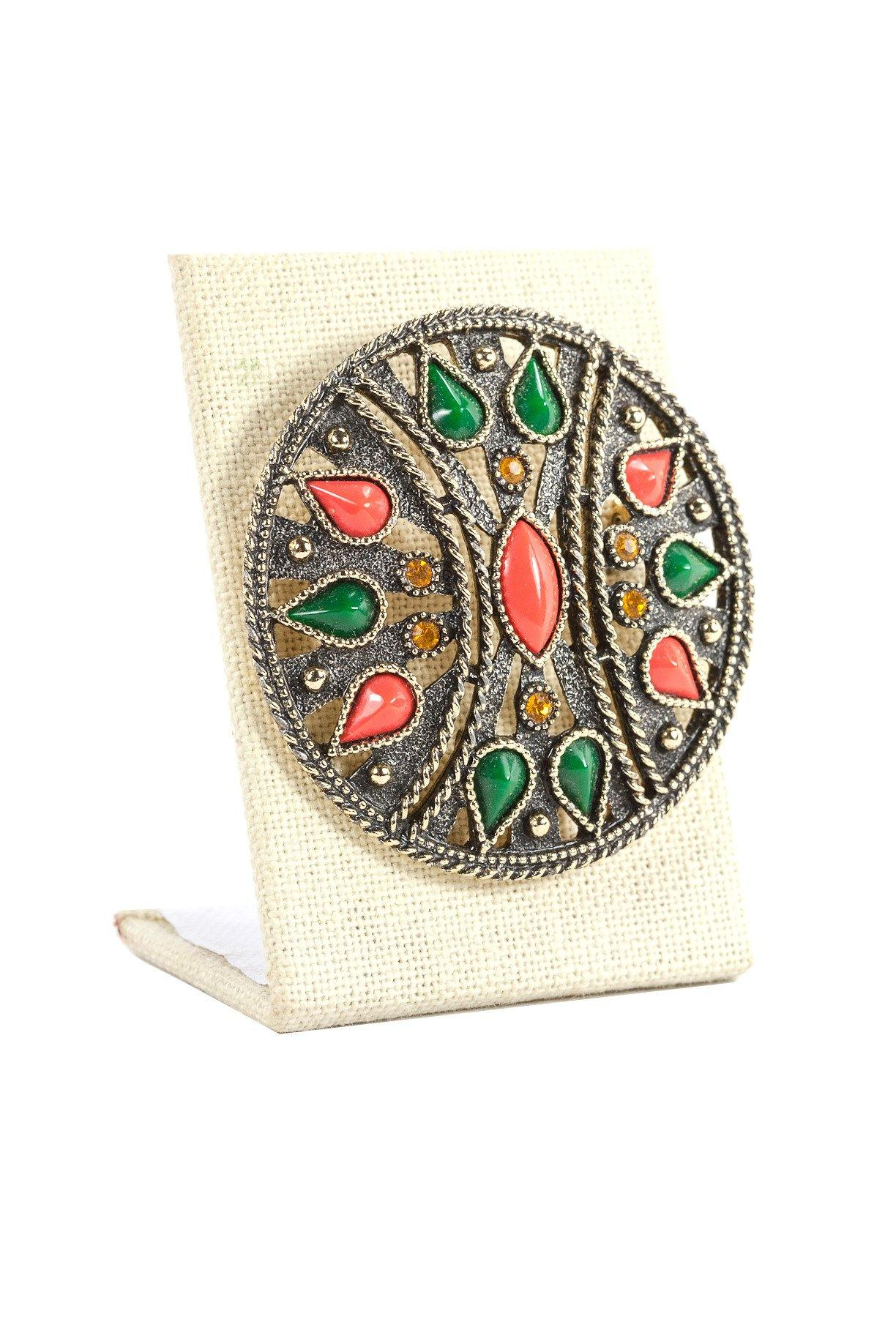 60's__Emmons__Tiled Disc Brooch