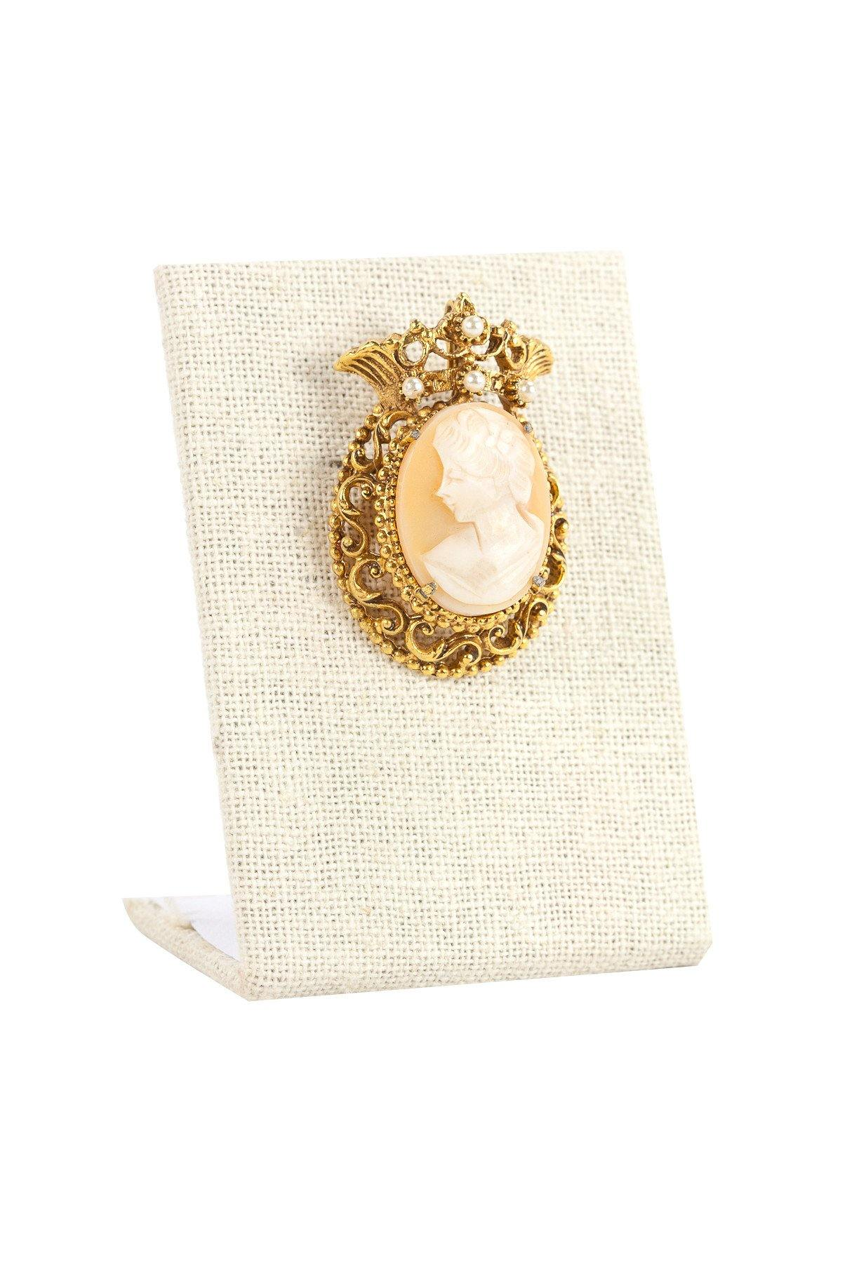 50's__Florenza__Pearl Embellished Statement Brooch