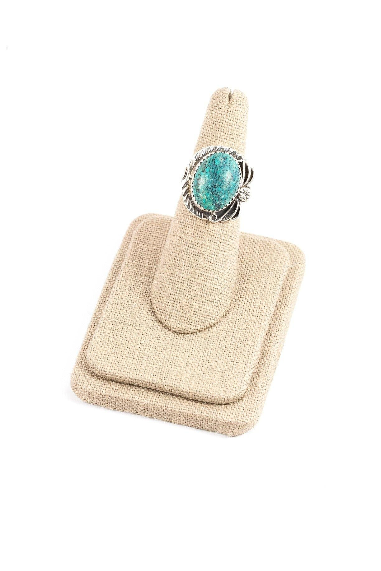 60's__Vintage__Turquoise and Navy Sterling Ring