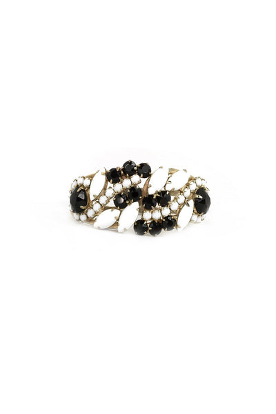 60's__Vintage__Black and White Rhinestone Cuff