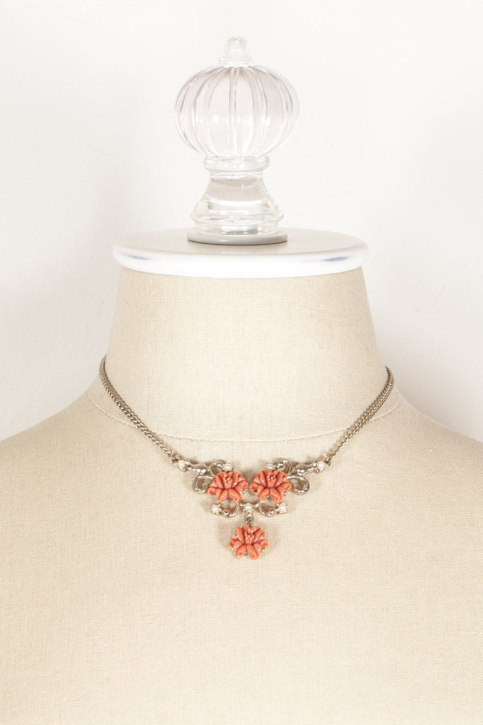 50's__Vintage__Coral Statement Necklace