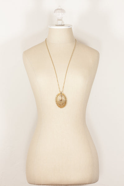 70's__Trifari__Sunburst Pendant Necklace
