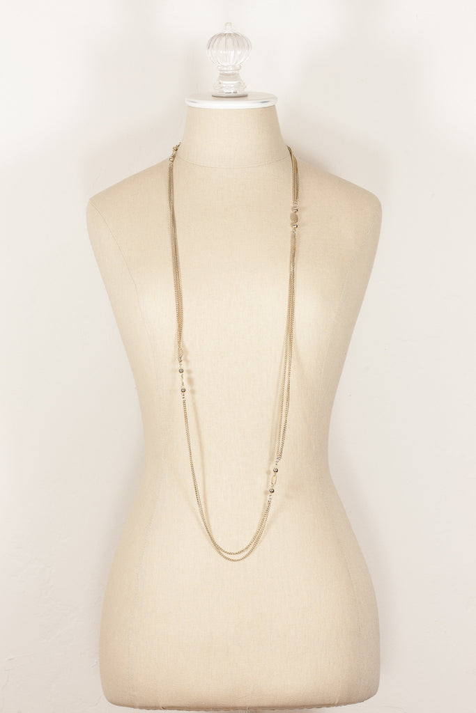 70's__Vintage__Extra Long Charm Chain Necklace