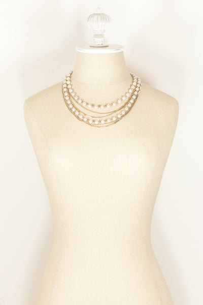 70's__Vintage Coro__Pearl & Chain Statement Necklace
