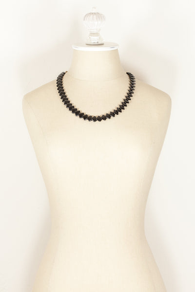 70's__Trifari__Black Square Link Necklace