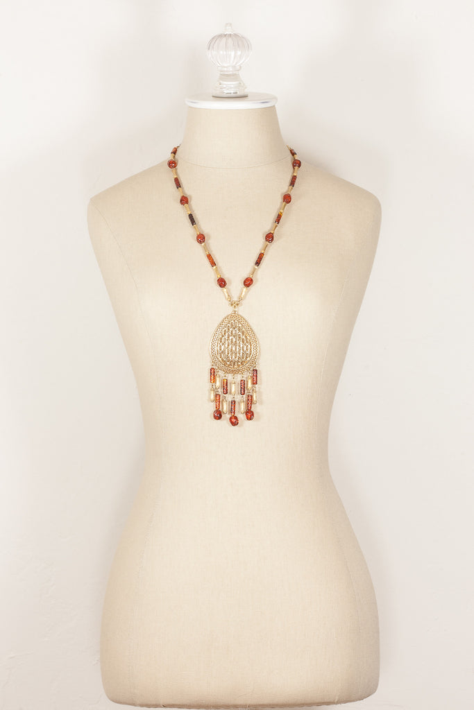 70's__Vintage__Amber Beaded & Gold Tassel Necklace