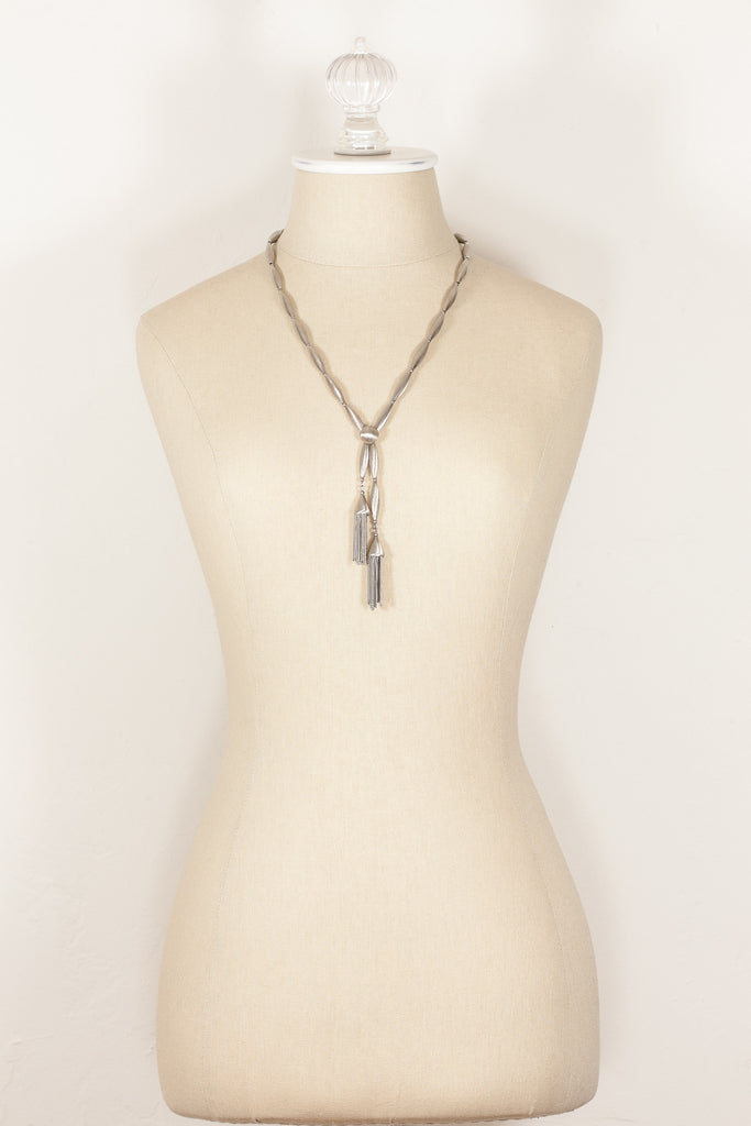 70's__Vintage__Silver Bolo Tassel Necklace