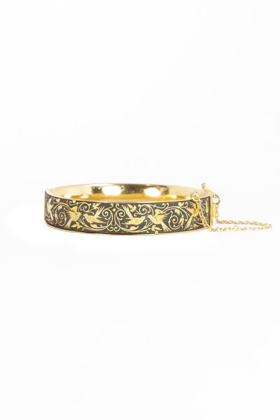 Vintage Gold Etched Sparrow Bangle