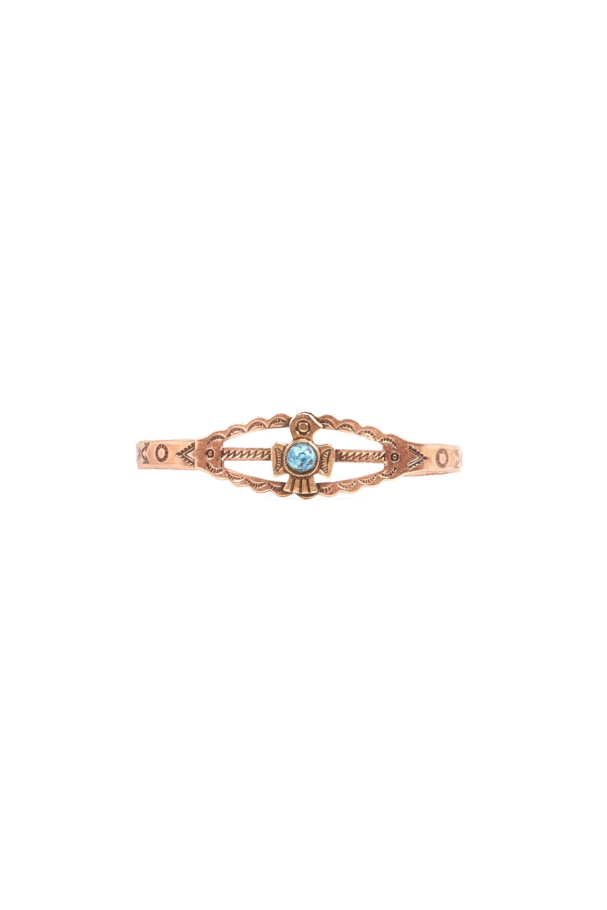 70's__Vintage__Dainty Copper & Turquoise Cuff