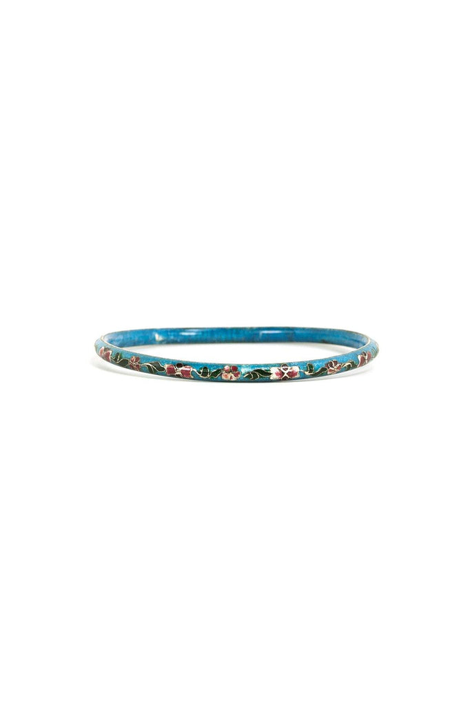 50's__Vintage__Ceramic Cloisonné Floral Bangle