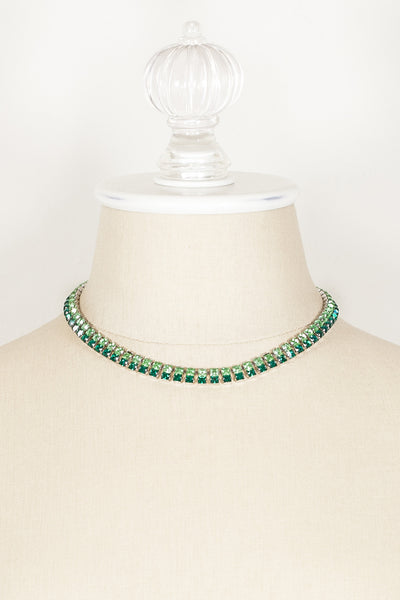 40's__Vintage__Green Ombre Rhinestone Necklace