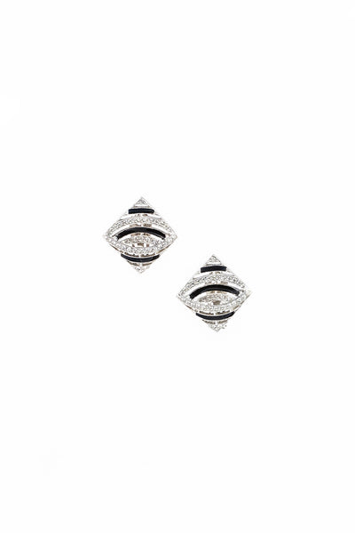 70's__Les Bernard__Deco Diamond Earrings