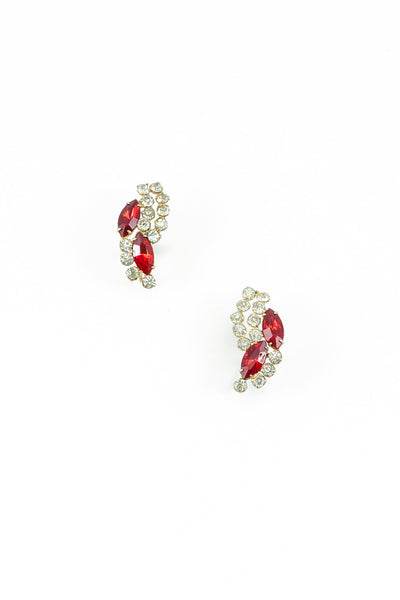 50's__Vintage__Red Leaf Wrap Earrings