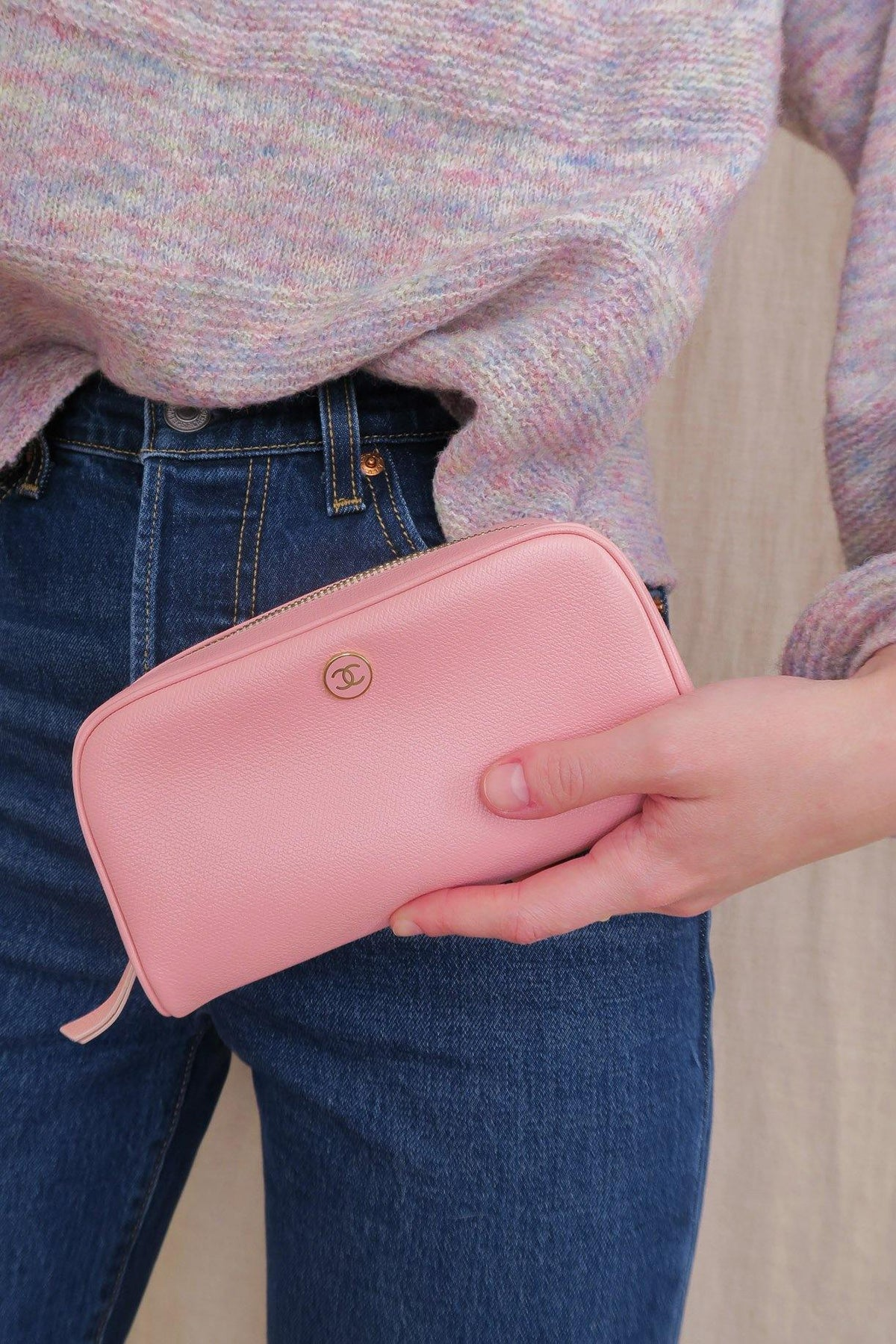 Chanel Pink Leather Zip Pouch