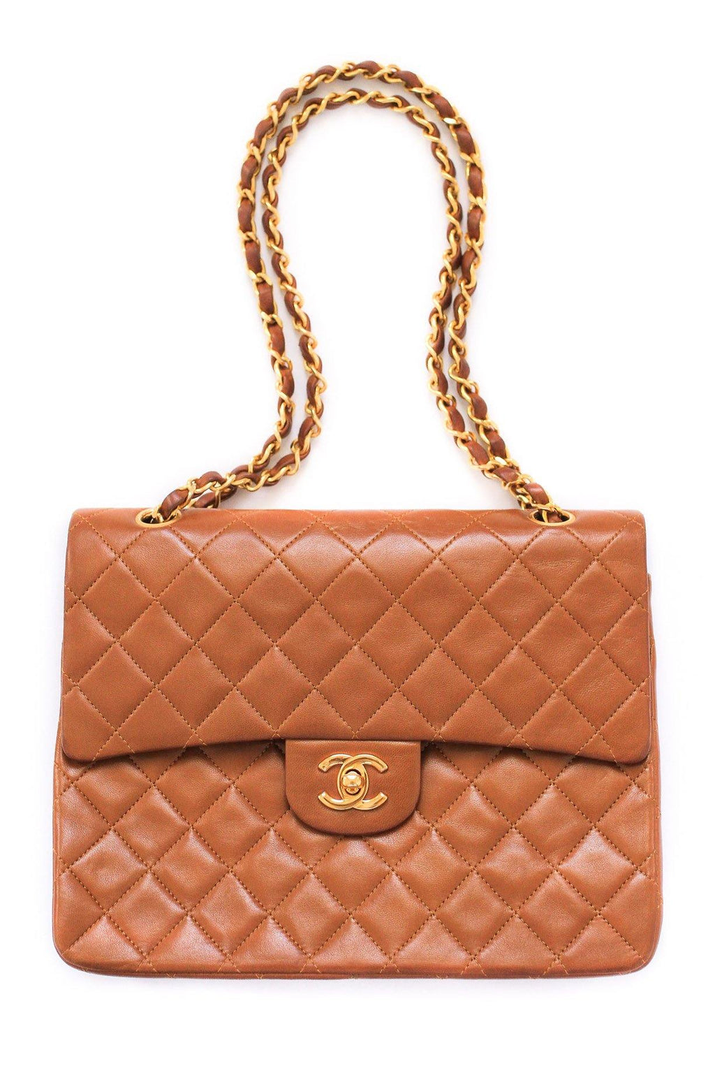 Chanel Brown Quilted Double Flap Bag