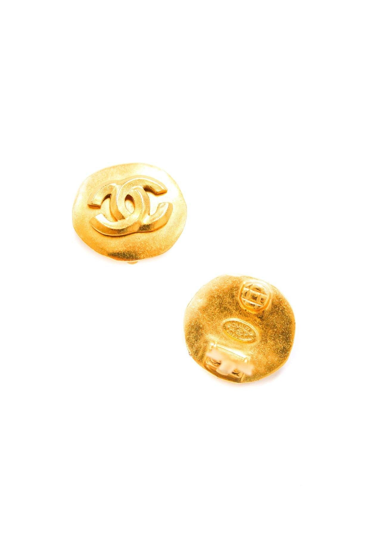 Chanel Matte Coin Clip-on Earrings