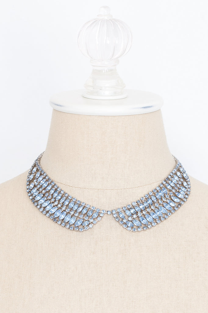 50's__Vintage__Blue Rhinestone Bib Necklace