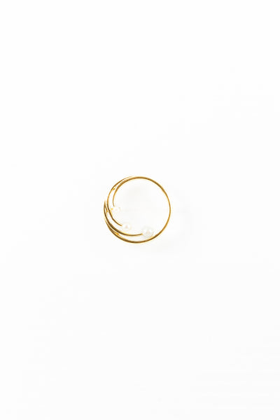 80's__Vintage__Gold Circle Pearl Pin