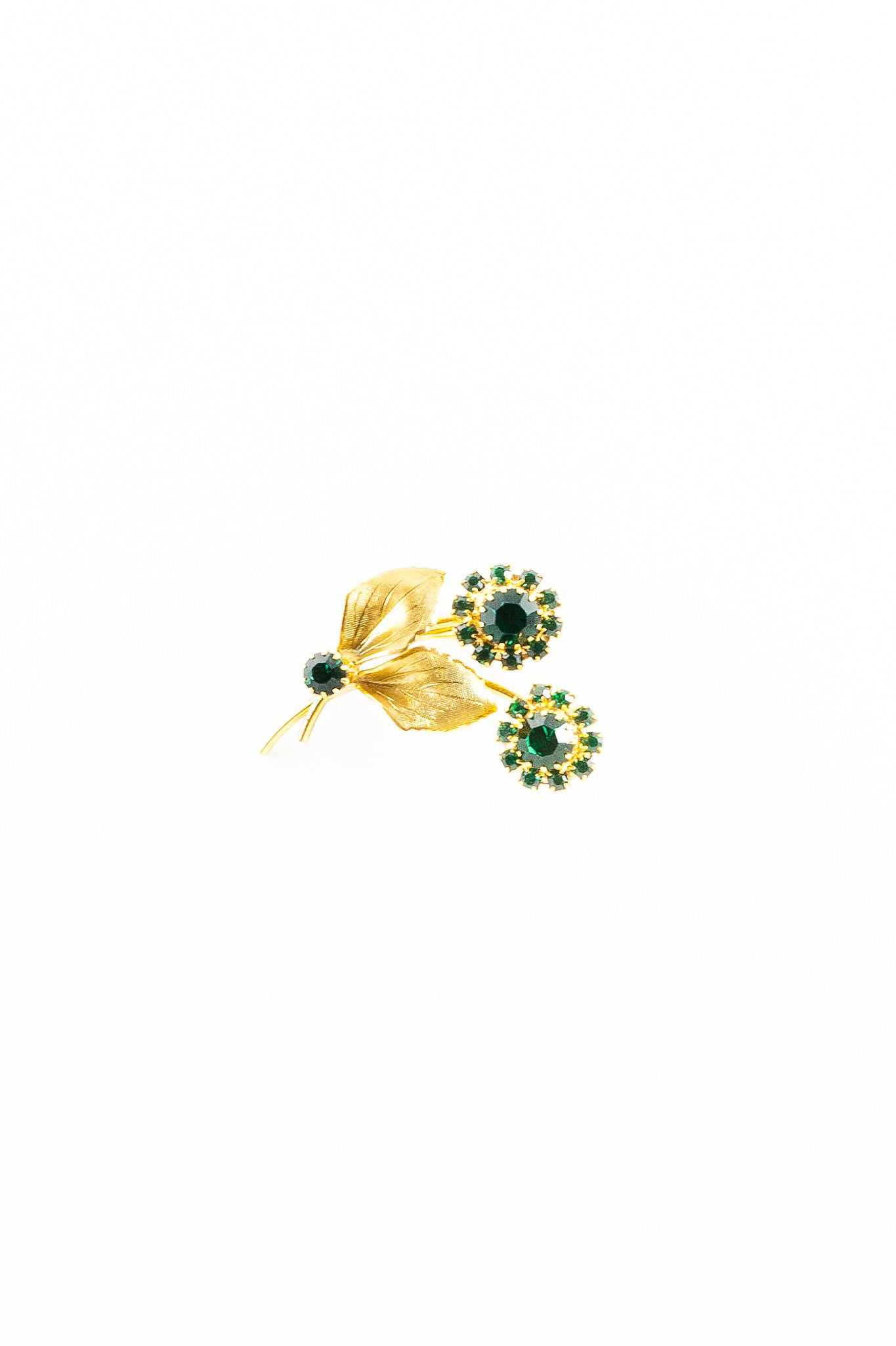 60's__Vintage__Emerald Flower Brooch