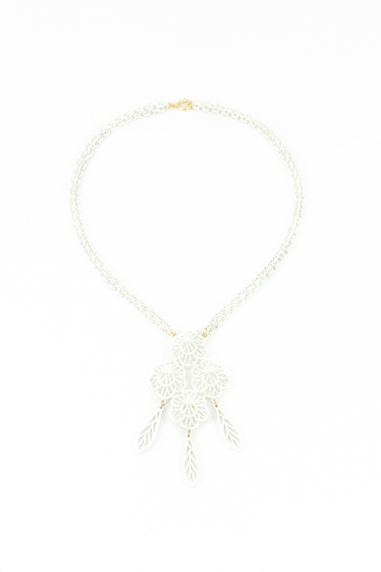 70's__Trifari__White Floral Lace Tassel Necklace