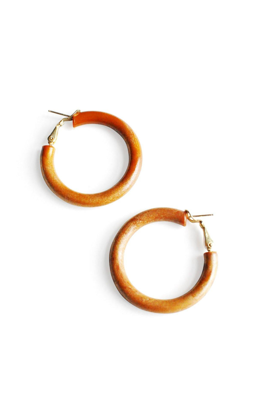 Wood Hoop Pierced Earrings