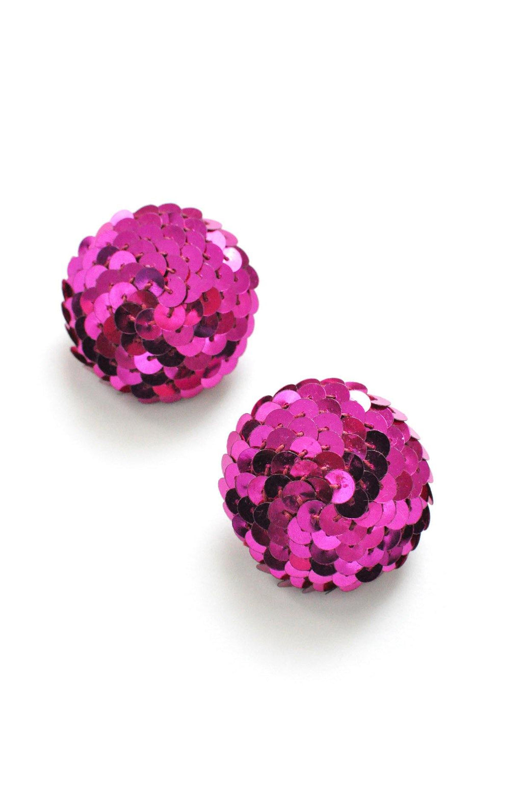 Pink Sequin Statement Pierced Earrings
