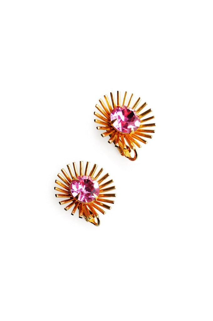 Gold and Fuchsia Gem Clip-On Earrings