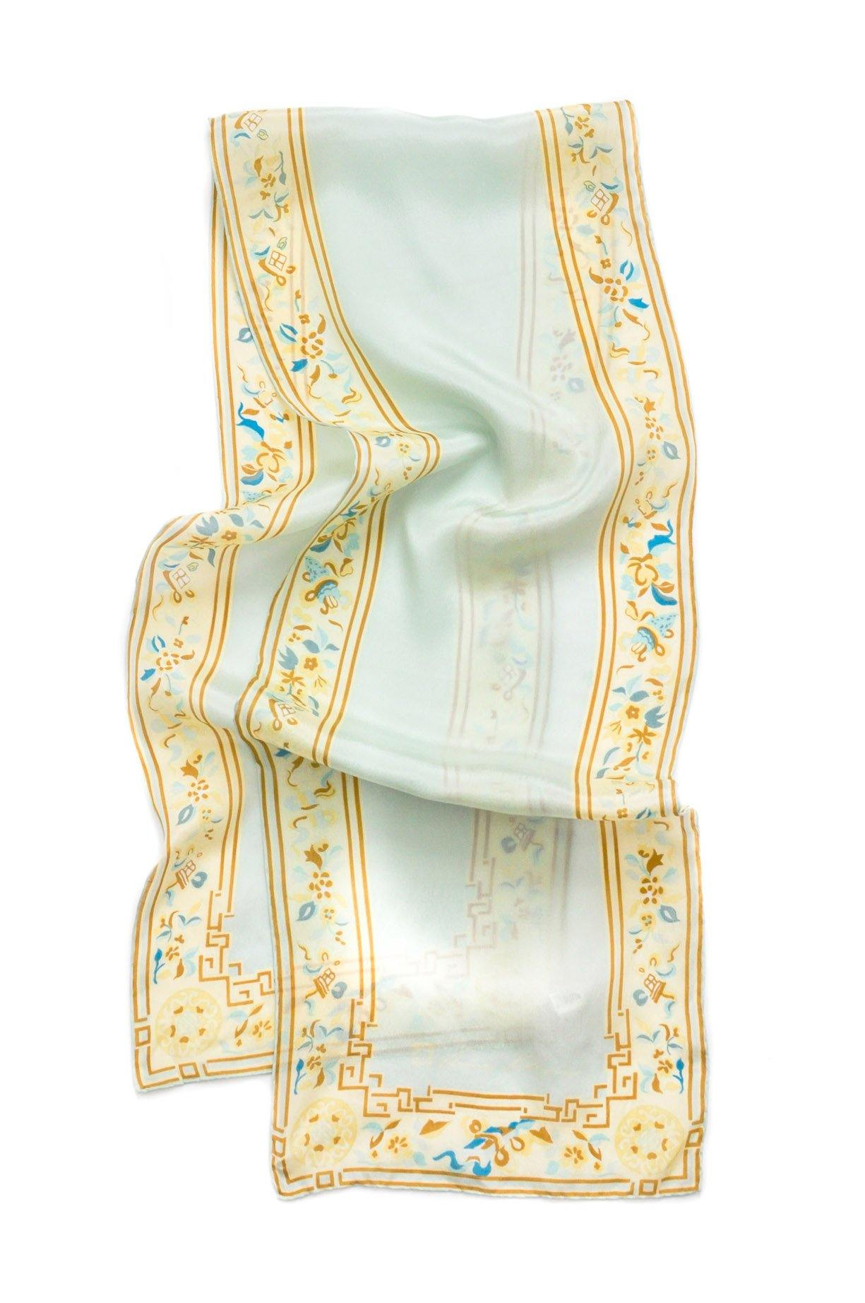 Floral Border Rectangle Scarf from Sweet & Spark