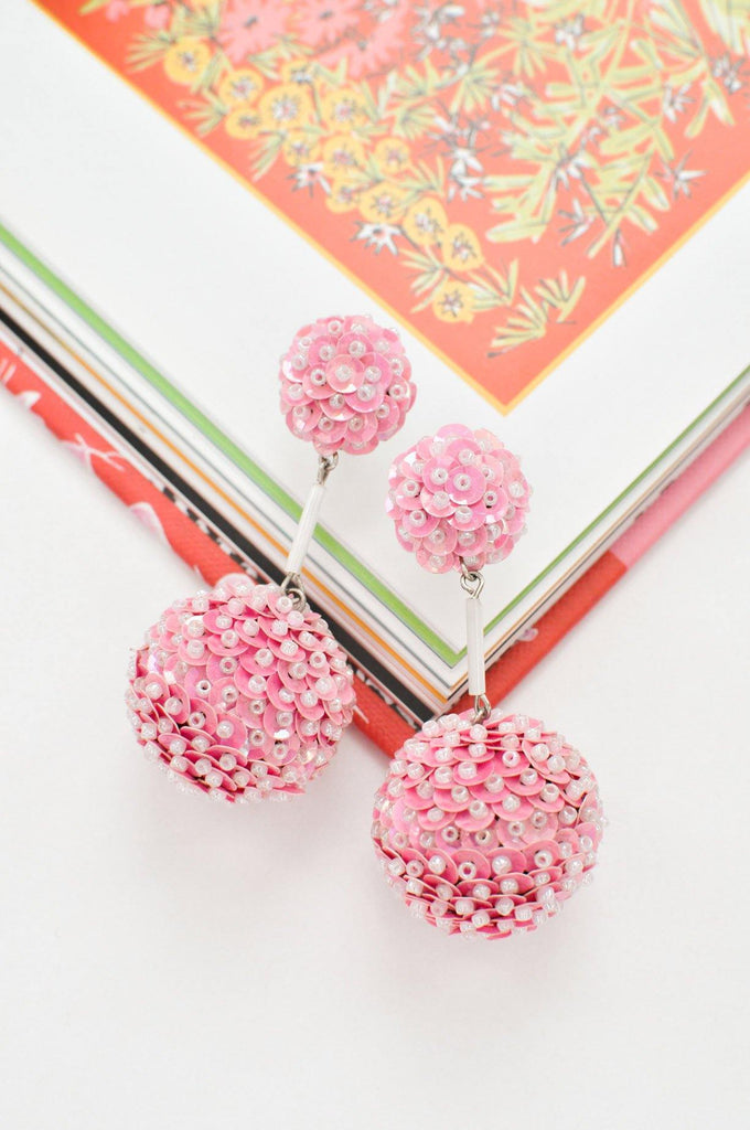 Pink Sequin Bon Bon Pierced Earrings