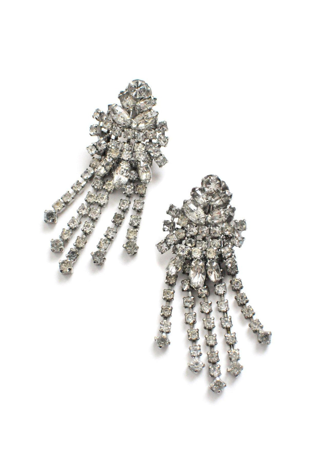 Rhinestone Fringe Statement Clip-on Earrings