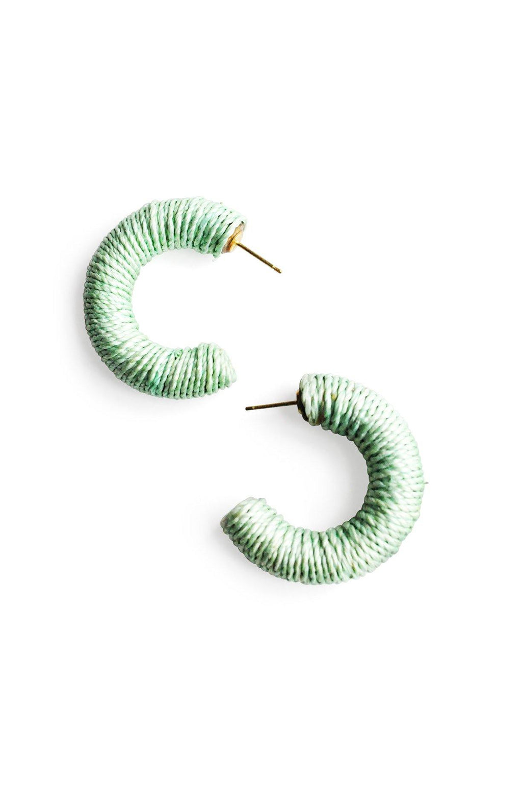 Thread Wrapped Hoop Pierced Earrings