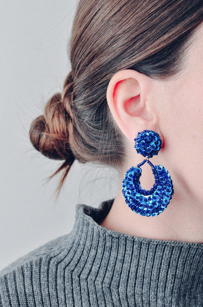 Blue Sequin Statement Clip-on Earrings