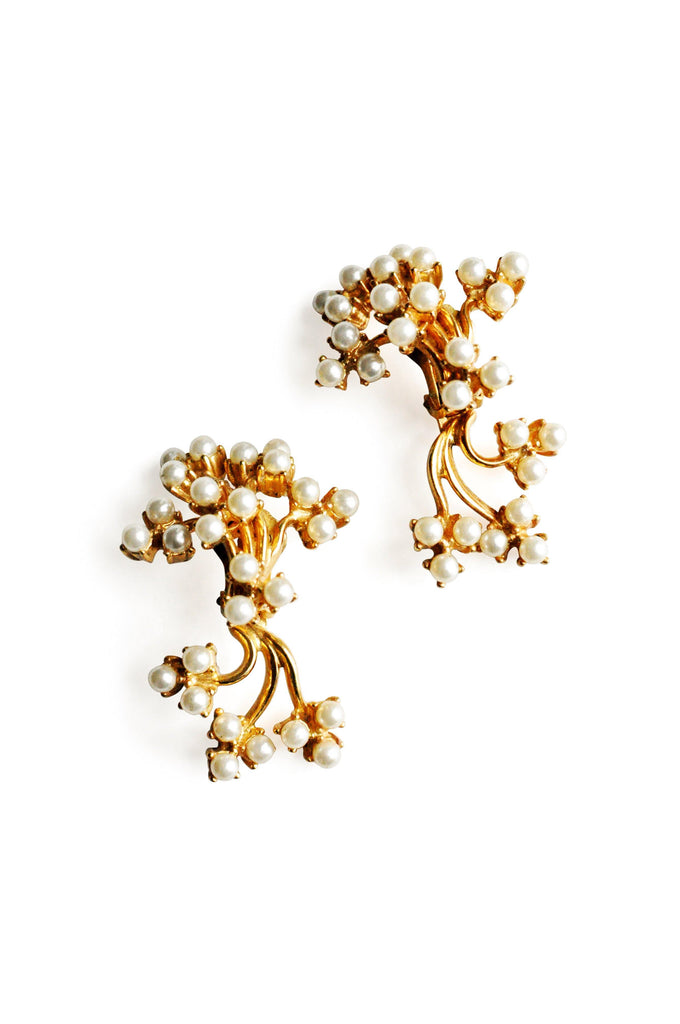 Pearl Cluster Statement Clip-on Earrings