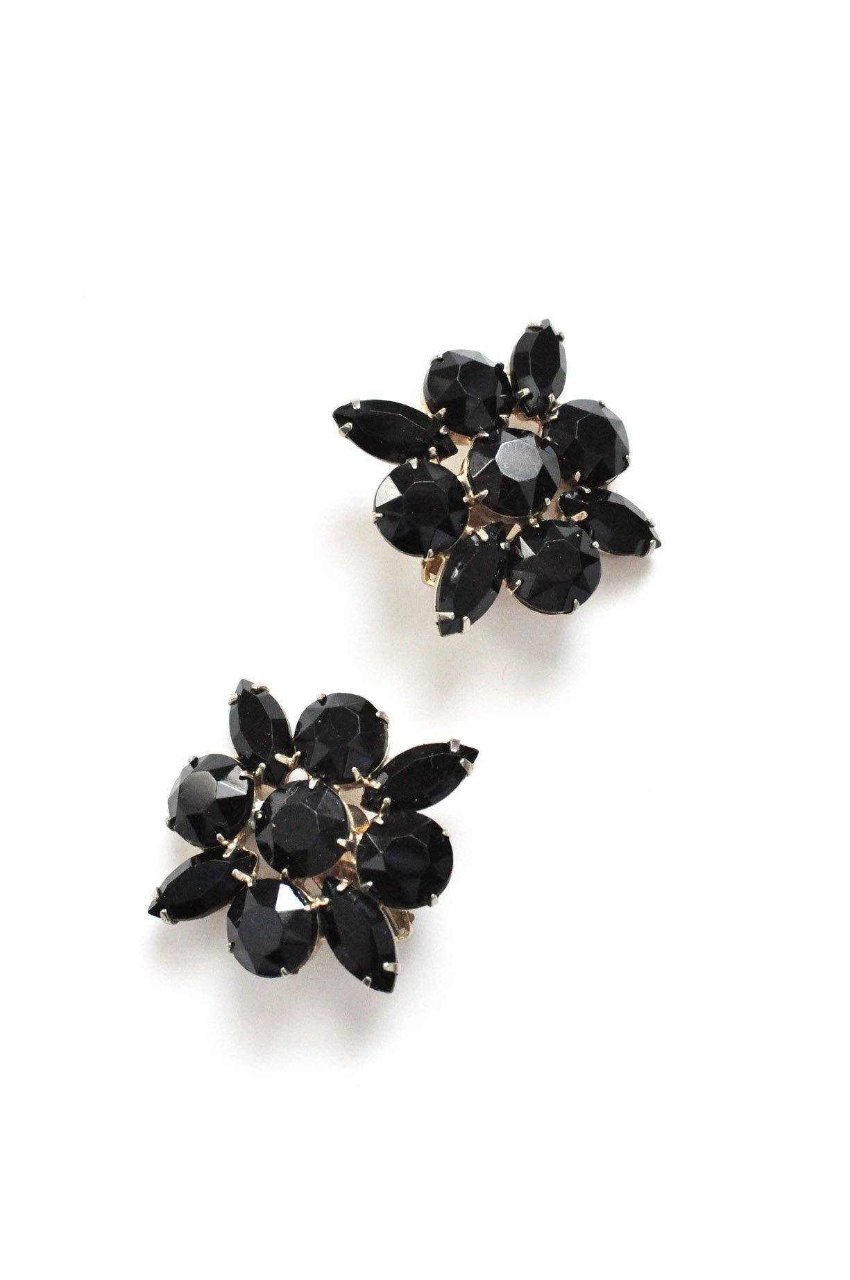 Black Rhinestone Statement Clip-on Earrings