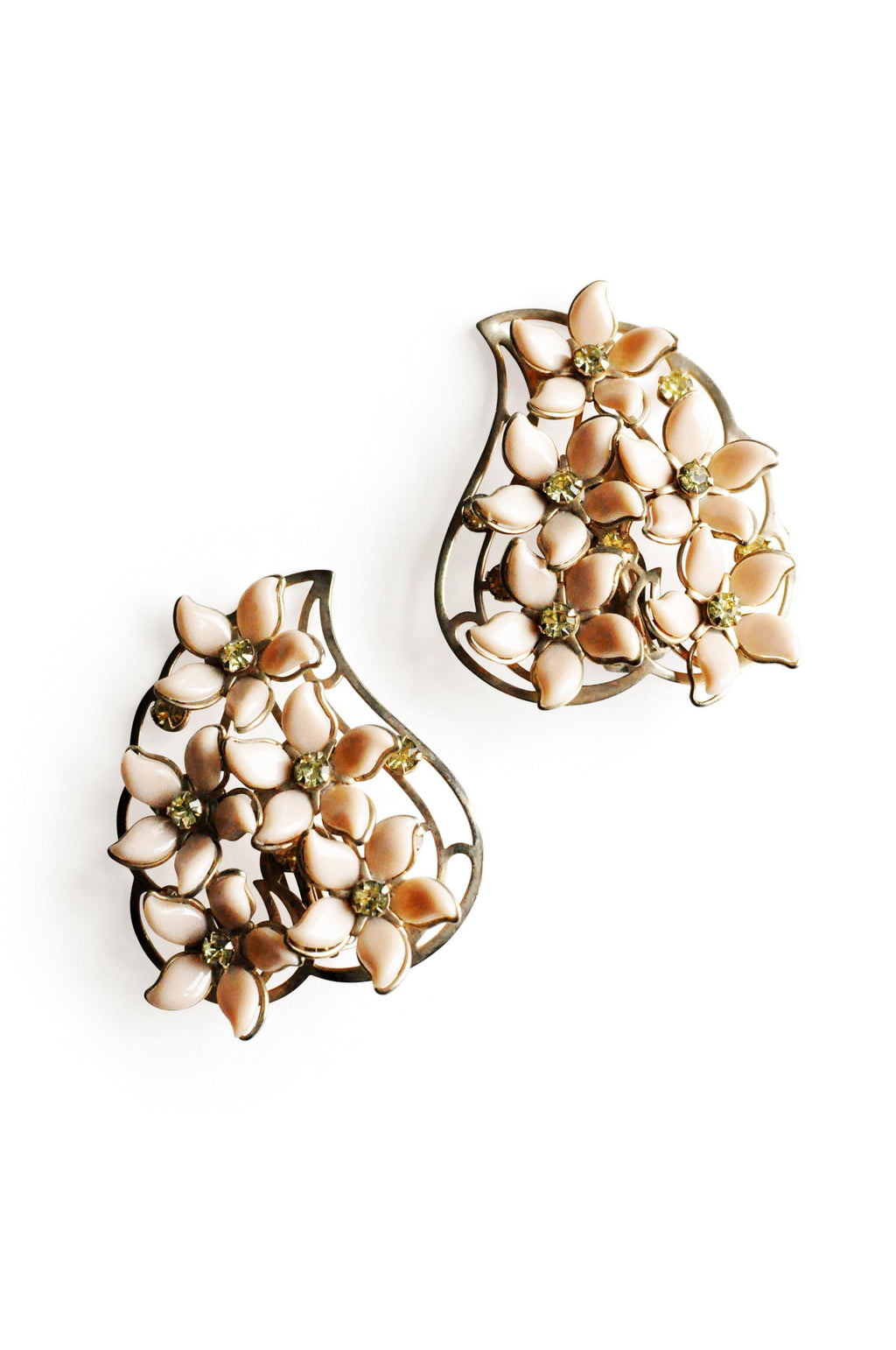 Nude Floral Statement Clip-on Earrings
